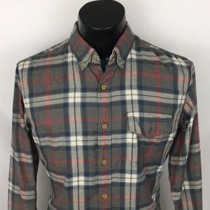 J. Crew button up work shirt plaid gray blue M